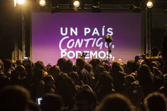 Madrid, Spain - December 20, 2015 - Podemos party. Madrid, Spain - December 20, 2015 - Podemos event empty stage and crowd after celebration of general election stock photography