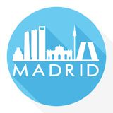Madrid Spain Europe Round Icon Vector Art Flat Shadow Design Skyline City Silhouette Template Logo stock illustration