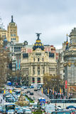 Madrid, Spain - February 13, 2014: Cars passing on the Gran Via, Stock Image
