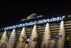 Exterior of the Santiago Bernabeu stadium in Madrid, the home of Real Madrid soccer team stock image