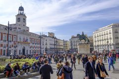 People walking in the Plaza del Sol, Madrid. Royalty Free Stock Image