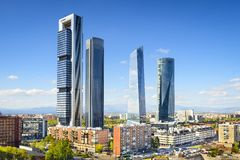 Madrid, Spain Financial District. Skyline Royalty Free Stock Images
