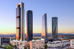 Madrid, Spain Financial District. Skyline at dusk Royalty Free Stock Images