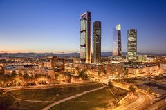 Madrid, Spain Financial District. Skyline at twilight Royalty Free Stock Photo