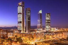 Madrid, Spain Financial District Stock Image