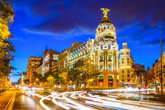 Madrid Spain at Gran Via. Madrid, Spain cityscape at Calle de Alcala and Gran Via Stock Photos