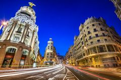 Madrid, Spain Gran Via Cityscape Stock Photography