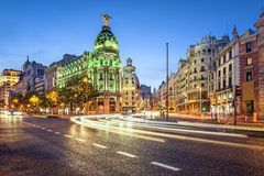 Madrid, Spain Gran Via Cityscape Royalty Free Stock Photos