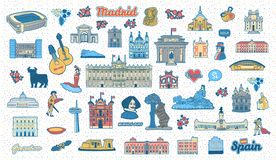 Madrid Spain inspired colorful hand drawn landmarks and symbols set