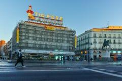MADRID, SPAIN - JANUARY 22, 2018: Amazing Sunrise panorama of Puerta del Sol square in city of Madrid. Spain stock image