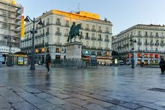 MADRID, SPAIN - JANUARY 22, 2018: Amazing Sunrise panorama of Puerta del Sol square in city of Madrid. Spain royalty free stock photos