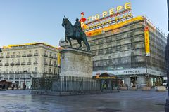 MADRID, SPAIN - JANUARY 22, 2018: Amazing Sunrise panorama of Puerta del Sol square in city of Madrid. Spain stock photography