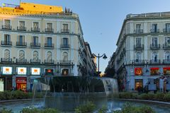MADRID, SPAIN - JANUARY 22, 2018: Amazing Sunrise panorama of Puerta del Sol square in city of Madrid. Spain royalty free stock photo