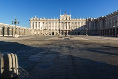 Beautiful view of the facade of the Royal Palace of Madrid, Spain Stock Photo