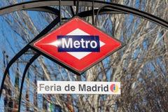 Feria de Madrid station. MADRID, SPAIN - JANUARY 27, 2019. Feria de Madrid previously Campo de las Naciones is a station on Line 8 of the Madrid Metro stock photos