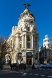 Gran Via and Metropolis Building in City of Madrid, Spain. MADRID, SPAIN - JANUARY 22, 2018: Gran Via and Metropolis Building in City of Madrid, Spain royalty free stock photos