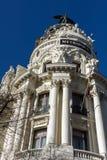 Gran Via and Metropolis Building in City of Madrid, Spain. MADRID, SPAIN - JANUARY 22, 2018: Gran Via and Metropolis Building in City of Madrid, Spain stock images
