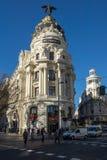 Gran Via and Metropolis Building in City of Madrid, Spain. MADRID, SPAIN - JANUARY 22, 2018: Gran Via and Metropolis Building in City of Madrid, Spain stock photo