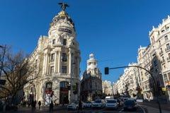 Gran Via and Metropolis Building in City of Madrid, Spain. MADRID, SPAIN - JANUARY 22, 2018: Gran Via and Metropolis Building in City of Madrid, Spain royalty free stock images