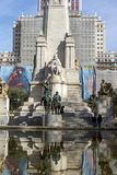 Monument to Cervantes and Don Quixote and Sancho Panza at Spain Square in City of Madrid, Spai Stock Images