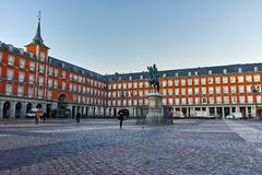 MADRID, SPAIN - JANUARY 22, 2018: Morning view of Plaza Mayor with statue of King Philips III in Madrid. Spain stock photography