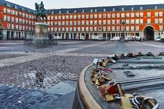 MADRID, SPAIN - JANUARY 22, 2018: Morning view of Plaza Mayor with statue of King Philips III in Madrid. Spain royalty free stock photo