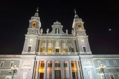 Night Photo of Almudena Cathedral in City of Madrid, Spain. MADRID, SPAIN - JANUARY 21, 2018: Night Photo of Almudena Cathedral in City of Madrid, Spain Royalty Free Stock Photography