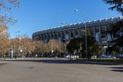 Outside view of Santiago Bernabeu Stadium in City of Madrid, Spain. MADRID, SPAIN - JANUARY 21, 2018: Outside view of Santiago Bernabeu Stadium in City of Madrid royalty free stock photos