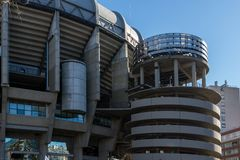 Outside view of Santiago Bernabeu Stadium in City of Madrid, Spain. MADRID, SPAIN - JANUARY 21, 2018: Outside view of Santiago Bernabeu Stadium in City of Madrid royalty free stock image