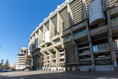 Outside view of Santiago Bernabeu Stadium in City of Madrid, Spain. MADRID, SPAIN - JANUARY 21, 2018: Outside view of Santiago Bernabeu Stadium in City of Madrid royalty free stock photo