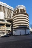 Outside view of Santiago Bernabeu Stadium in City of Madrid, Spain. MADRID, SPAIN - JANUARY 21, 2018: Outside view of Santiago Bernabeu Stadium in City of Madrid stock photo