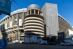 Outside view of Santiago Bernabeu Stadium in City of Madrid, Spain royalty free stock photo