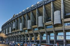MADRID, SPAIN - JANUARY 21, 2018: Outside view of Santiago Bernabeu Stadium in City of Madrid. Spain royalty free stock photography