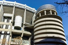 MADRID, SPAIN - JANUARY 21, 2018: Outside view of Santiago Bernabeu Stadium in City of Madrid. Spain royalty free stock images