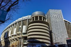 MADRID, SPAIN - JANUARY 21, 2018: Outside view of Santiago Bernabeu Stadium in City of Madrid. Spain stock photography