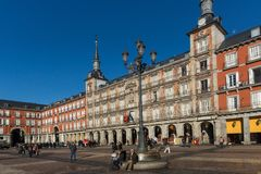 Plaza Mayor with statue of King Philips III in Madrid, Spain. MADRID, SPAIN - JANUARY 22, 2018: Plaza Mayor with statue of King Philips III in Madrid, Spain royalty free stock photo