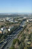Madrid, Spain. January, 12, 2019. Madrid skyline from the lighthouse of Moncloa. Aerial view. Highway at front stock images