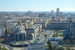 Madrid, Spain. January, 12, 2019. Madrid skyline from the high. Madrid, Spain. January, 12, 2019. Madrid skyline from the lighthouse of Moncloa royalty free stock photo
