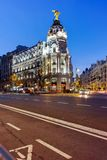 MADRID, SPAIN - JANUARY 23, 2018: Sunset view of Gran Via and Metropolis Building in City of Madrid. Spain stock photos