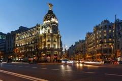 MADRID, SPAIN - JANUARY 23, 2018: Sunset view of Gran Via and Metropolis Building in City of Madrid. Spain stock image