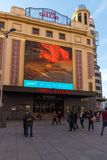 Sunset view of walking people at Callao Square Plaza del Callao in City of Madrid, Spain Stock Photos