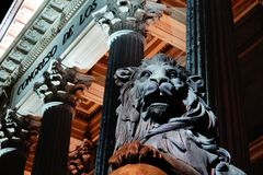 Madrid, Spain; January 6th 2019: Congress of Deputies illuminated at night. With lion in foreground stock photography