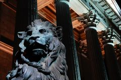 Madrid, Spain; January 6th 2019: Congress of Deputies illuminated at night. With lion in foreground stock image