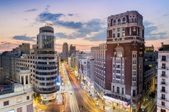 Madrid, Spain - July 26, 2016: Cityscape of the Gran Via with the Schweppes sign, historical buildings, traffic and night life tak. Madrid cityscape at dusk with Stock Photos
