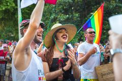 Madrid, Spain - 07 July 2019 - Gay Pride, Orgullo Gay Parade - Friends Celebrating Love stock images