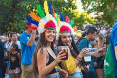 Madrid, Spain - 07 July 2019 - Gay Pride, Orgullo Gay Parade - Girls Celebrating Love royalty free stock photography