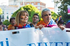 Madrid, Spain - 07 July 2019 - Gay Pride, Orgullo Gay Parade - Senior Couple stock photo