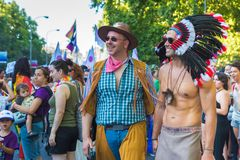 Madrid, Spain - 07 July 2019 - Gay Pride, Orgullo Gay Parade - Gay Couple stock photography