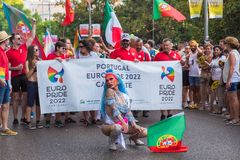 Madrid, Spain - 07 July 2019 - Gay Pride, Orgullo Gay Parade Diva Portugal royalty free stock photography