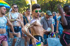 Madrid, Spain - 07 July 2019 - Gay Pride, Orgullo Gay Parade - Glitter Guy stock image